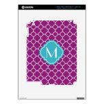 Purple Quatrefoil Pattern with Monogram Decals For iPad 3