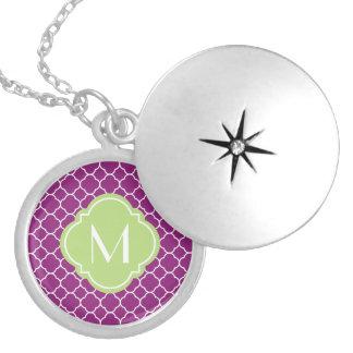 Purple Quatrefoil Pattern with Monogram Round Locket Necklace