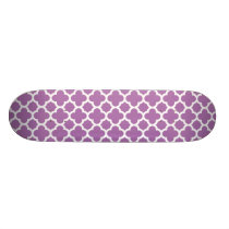 Purple Quatrefoil Trellis Pattern Skateboard