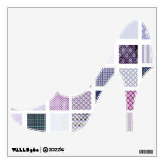 Purple Quilt pattern high heeled shoe wall decal
