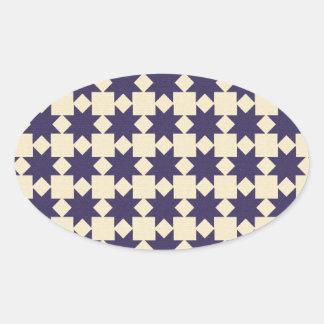 Purple Quilt Pattern Oval Sticker