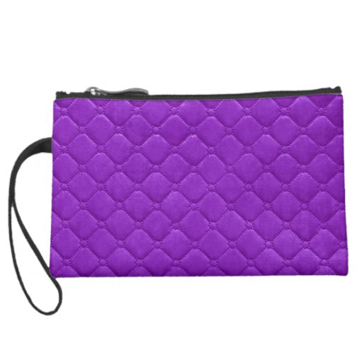 Purple Quilted Look Wristlet Clutch