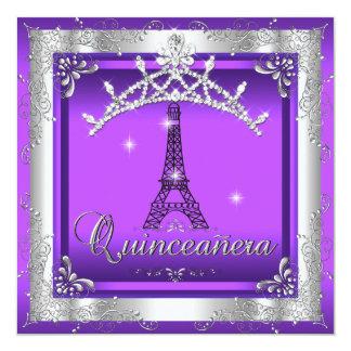 Purple Quinceanera 15 Silver Tiara Eiffel Tower Invitation