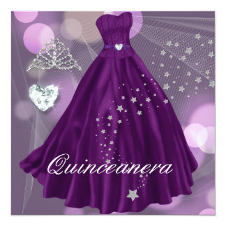 Purple Quinceanera 15th Birthday Party Card