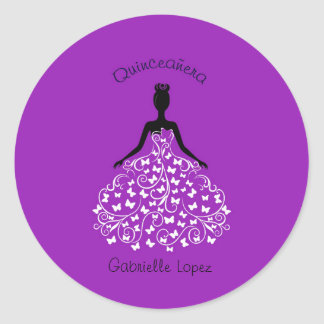 Purple Quinceanera Butterfly Gown Envelope Seals
