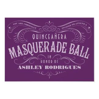 Purple Quinceanera Masquerade Invitations