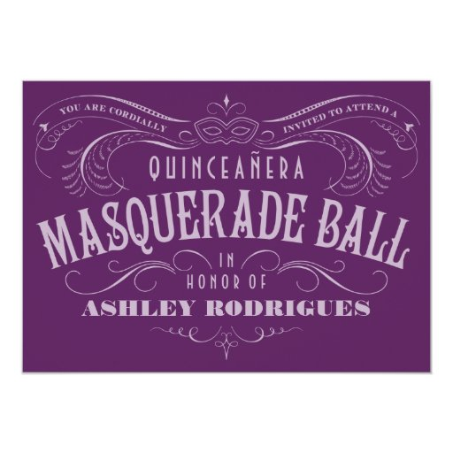 """Purple Quinceanera Masquerade Invitations 5"""" X 7"""" Invitation Card"""