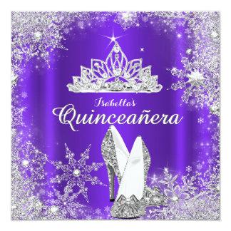 Purple Quinceanera Silver Tiara 15th Birthday Invitation