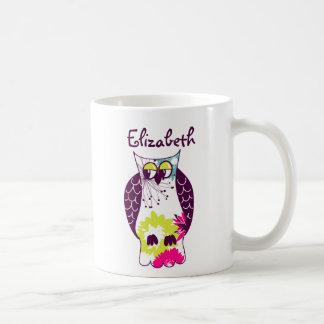 Purple Quirky Floral Owl Custom Name Mug