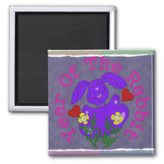 Purple Rabbit 2 Inch Square Magnet