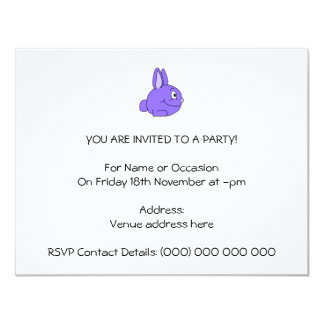 Purple Rabbit 4.25x5.5 Paper Invitation Card