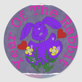 Purple Rabbit Classic Round Sticker