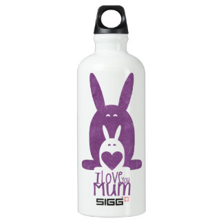 Purple rabbit mom aluminum water bottle