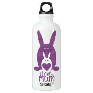 Purple rabbit mom aluminum water bottle