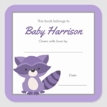 Purple Raccoon Baby Shower Bookplate, girl book Square Sticker
