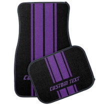 Purple Race Double Stripes | Personalize Car Floor Mat
