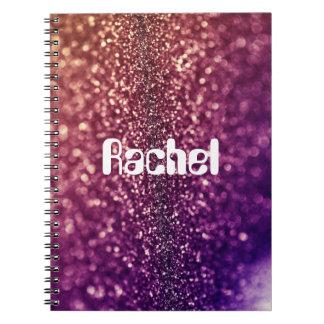 Purple RACHEL custom named glitter notebook