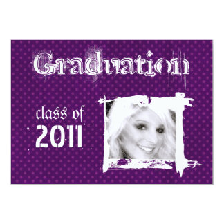 Purple Rad Grad Funky Dots Graduation Invitations
