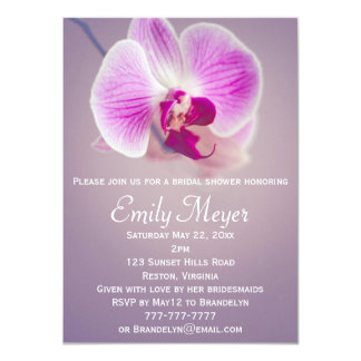 "Purple Radiant Orchid Bridal Shower Invitation 4.5"" X 6.25"" Invitation Card"
