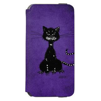 Purple Ragged Evil Black Cat iPhone 6/6s Wallet Case