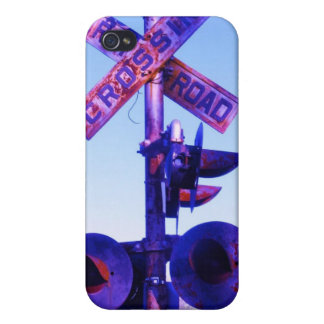 purple railroad crossing signal iPhone 4 covers