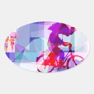 Purple rain, oval sticker