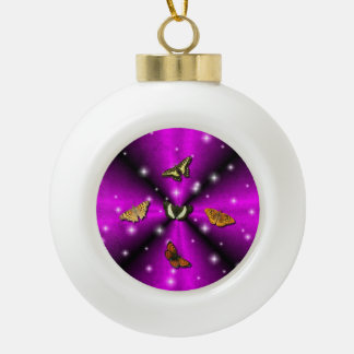 Purple Rainbow and Butterfly Ceramic Ball Christmas Ornament