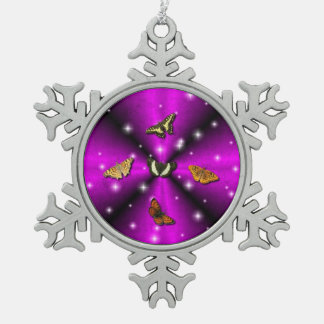 Purple Rainbow and Butterfly Snowflake Pewter Christmas Ornament