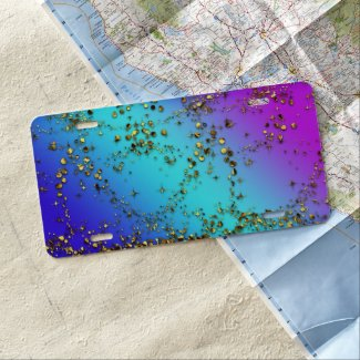 Purple Rainbow and Gold Glitter License Plate