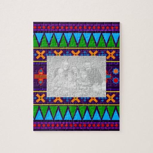 Purple rainbow aztec tribal pattern jigsaw puzzle