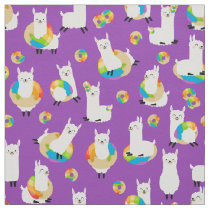 Purple Rainbow Donut Llama Kids Fabric