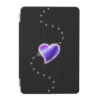 Purple Rainbow Heart with Stars on black iPad Mini Cover