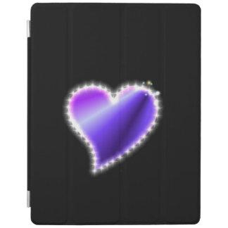 Purple Rainbow Heart with Stars on black iPad Cover