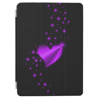 Purple Rainbow Heart with Stars on black iPad Air Cover