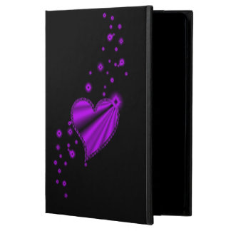 Purple Rainbow Heart with Stars on black iPad Air Case