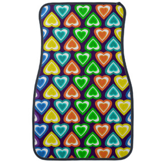 Purple rainbow hearts pattern car floor mat