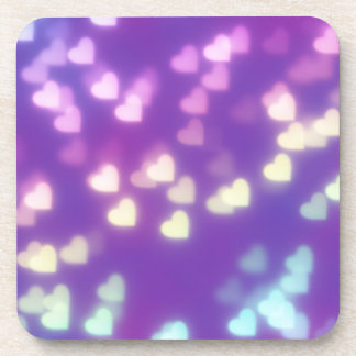 purple rainbow hearts - trendy cute girly chic fun beverage coaster
