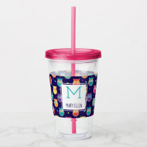 Purple Rainbow Owl Pattern Monogrammed Girls Acrylic Tumbler
