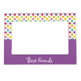 Purple & Rainbow Polka Dot Best Friends Magnetic Frame