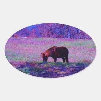 Purple Rainbow Pony Oval Sticker