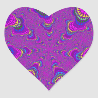 Purple Rainbow Starburst Heart Stickers