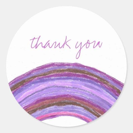 Purple rainbow thank you sticker