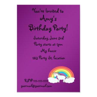 Purple rainbow unicorn gifts 4.5x6.25 paper invitation card
