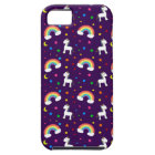 Purple rainbow unicorn hearts stars pattern iPhone SE/5/5s case