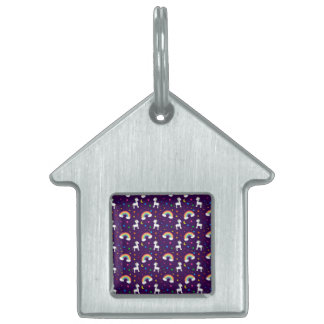 Purple rainbow unicorn hearts stars pattern pet ID tag