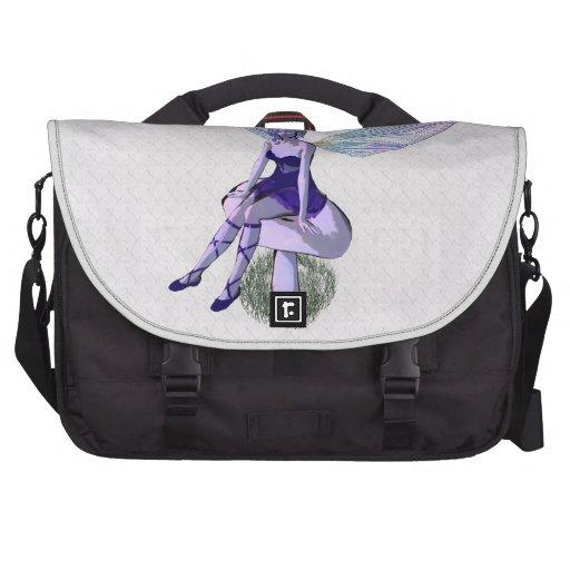 Purple Rainbow Wing Fairy on Mushroom Laptop Commuter Bag