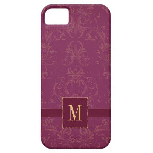 Purple raspberry damask monogram iphone 5 case