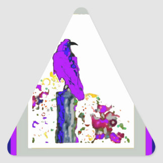 Purple Raven pop Art by Sharles Triangle Sticker