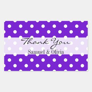 Purple Rectangle Custom Polka Dotted Thank You Rectangular Sticker