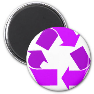Purple Recycle 2 Inch Round Magnet